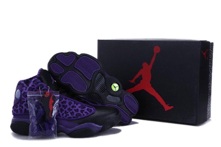 Women Air Jordan 13 Leopard Print Black Purple Shoes