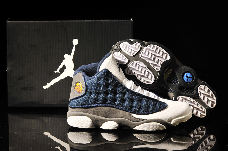 2013 Air Jordan 13 White Blue Grey Shoes