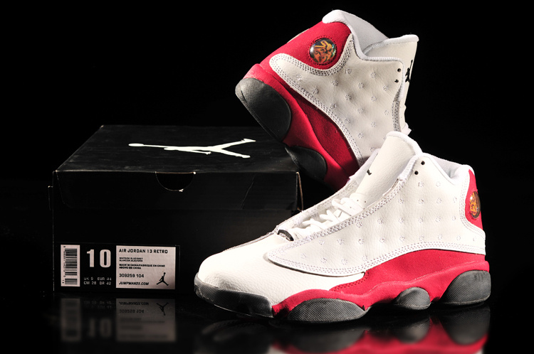 2013 Air Jordan 13 White Red Shoes