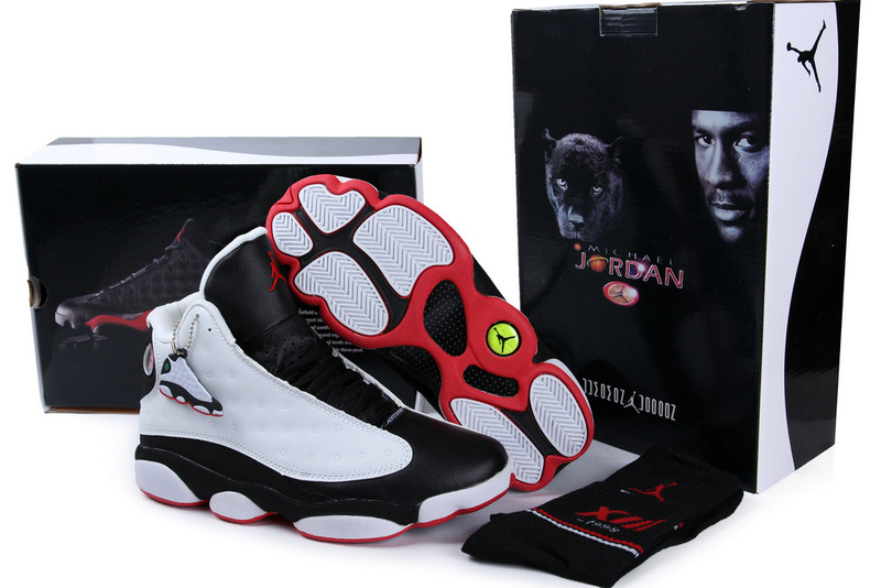2013 Hardcover Air Jordan 13 White Black Red Shoes