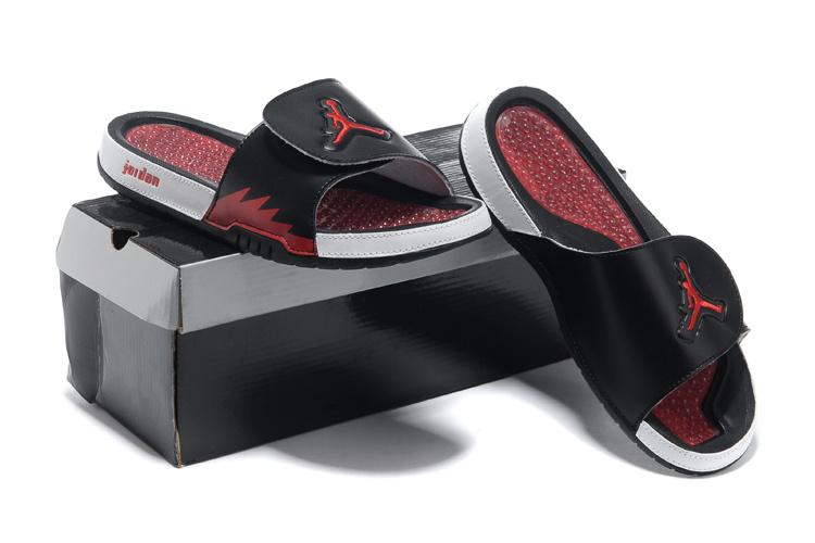 2013 Jordan Hydro 5 Black White Red Slipper.jpg