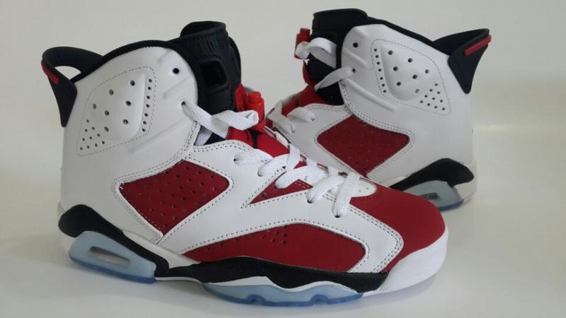 2014 Air Jordan Retro 6 Carmine White Red Black Shoes