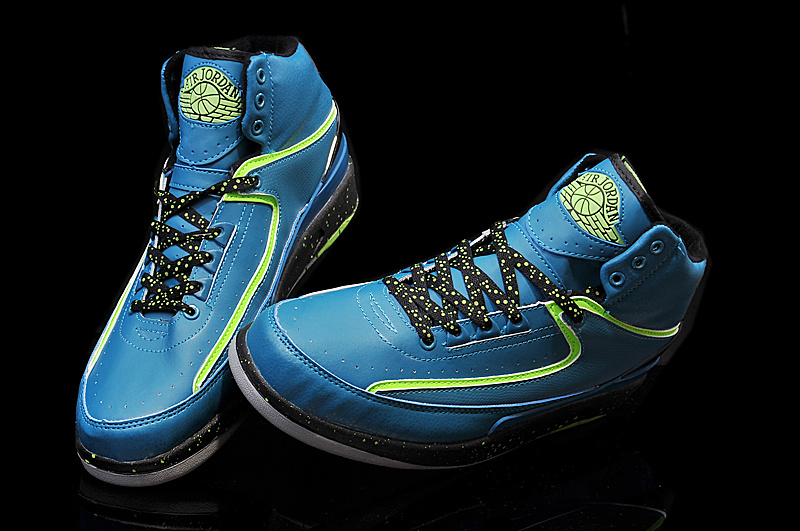2014 Jordan 2 Retro Blue Black Green Shoes