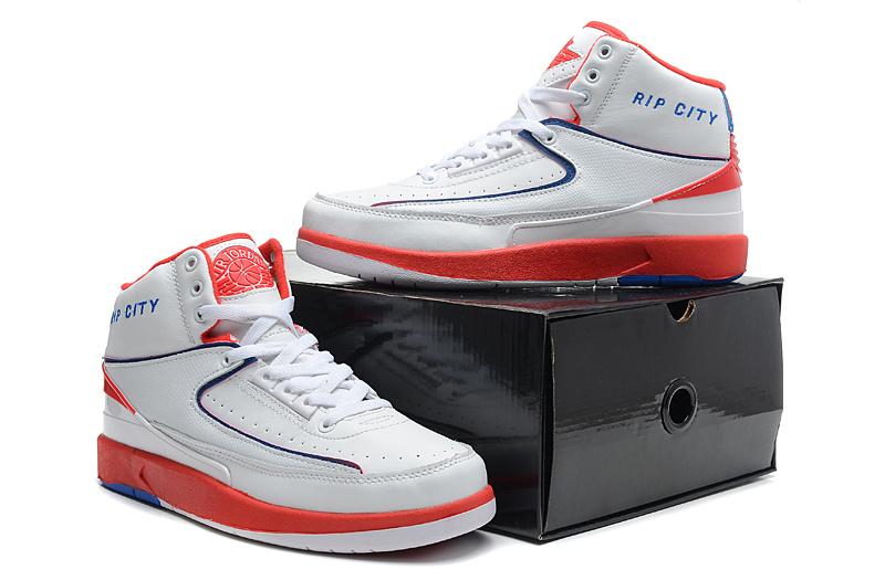 2014 Jordan 2 Retro White Red Blue Shoes