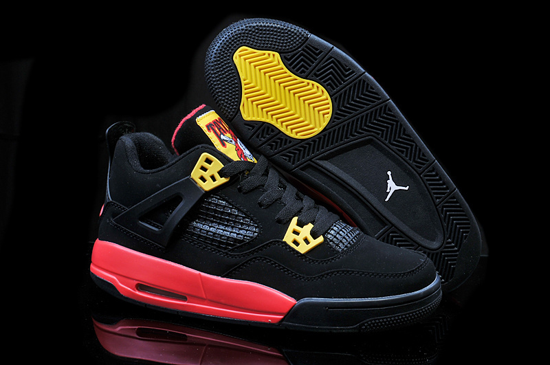 2014 Jordan 4 Retro Pirate Black Yellow Red Shoes