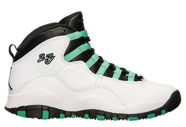 2015 Air Jordan 10 White Green Black Black Shoes For Women