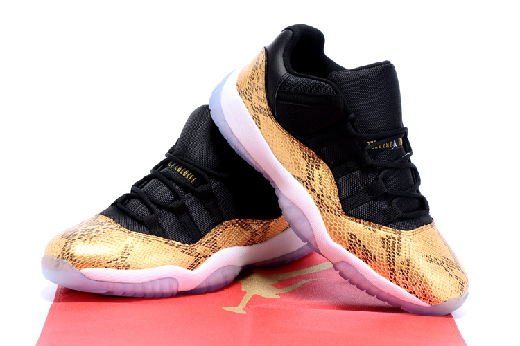 2015 Air Jordan 11 Retro Black Gold Snakeskin Shoes