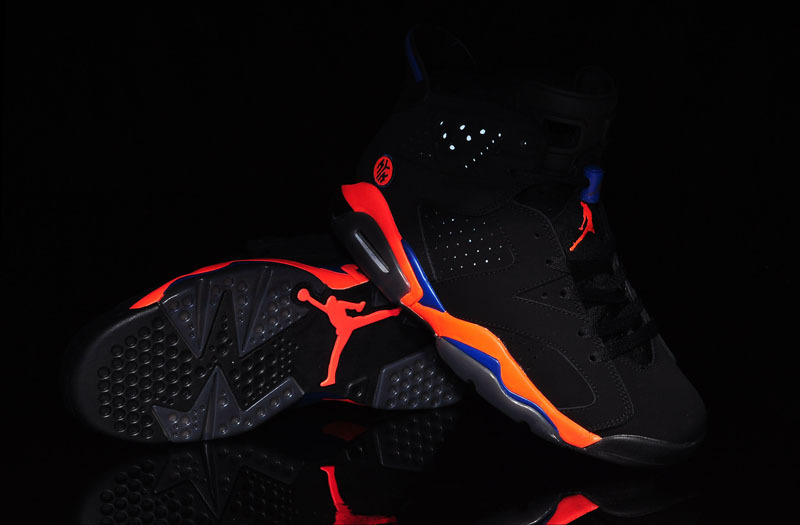 2015 Air Jordan 6 Knicks World Cup Black Orange Blue Womens Shoes