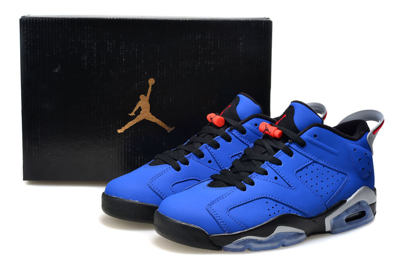 2015 Air Jordan 6 Low Blue Black Shoes