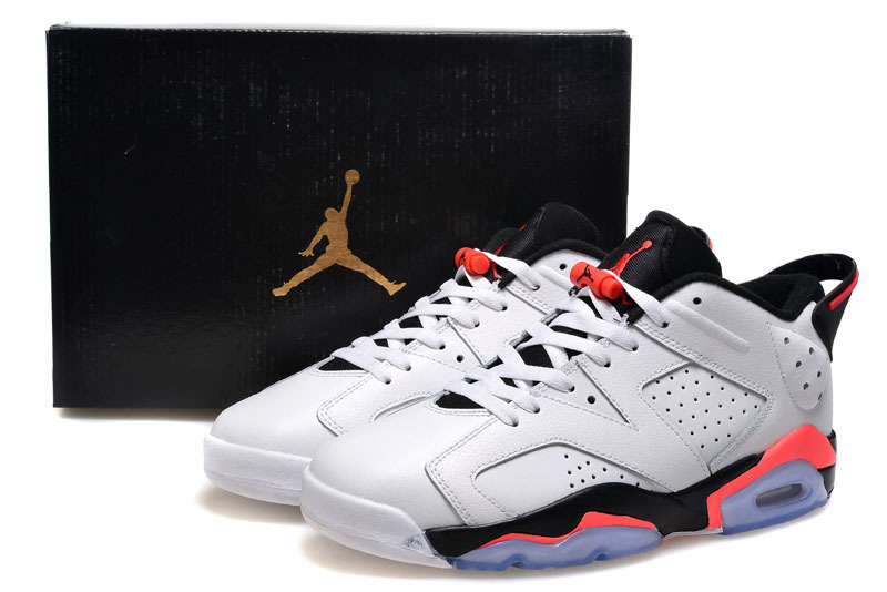 2015 Air Jordan 6 Low Pure White Black Pink Shoes