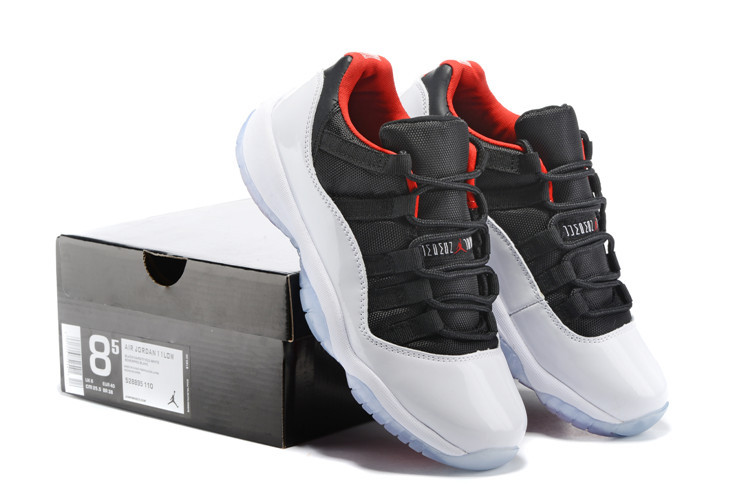 2015 Original Air Jordan 11 Low Black White Red Women Shoes