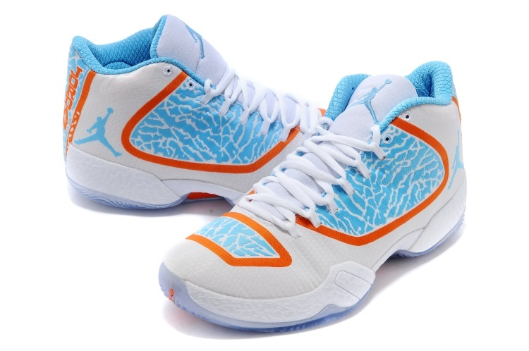 Latest Air Jordan 29 White Blue Orange Shoes