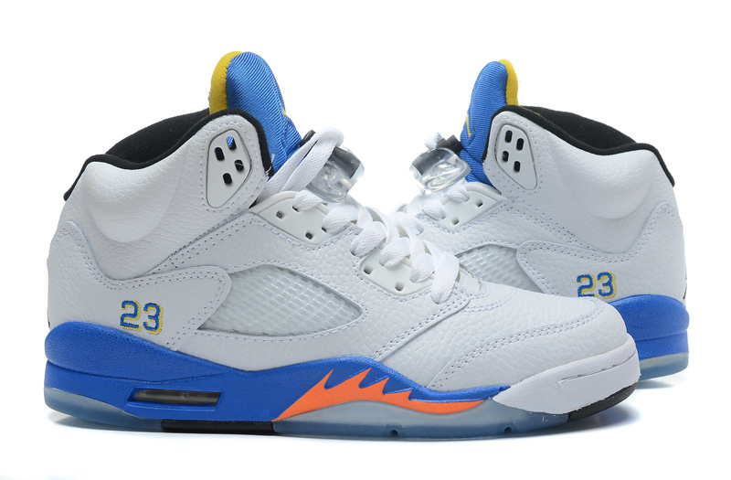 Latest Air Jordan 5 Retro White Blue Orange Shoes