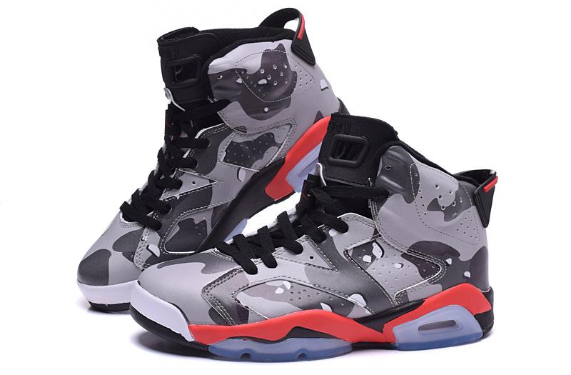 2015 Jordan 6 Army Grey Red Black Shoes