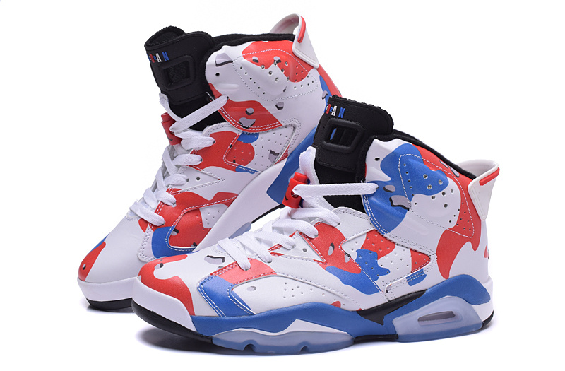2015 Jordan 6 White Red Blue Shoes