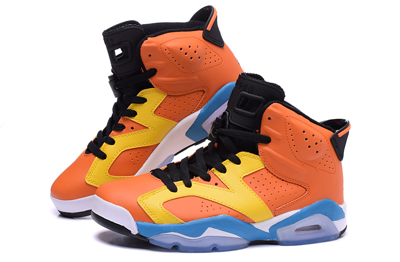 2015 Jordan 6 OG Orange Yellow Blue Shoes