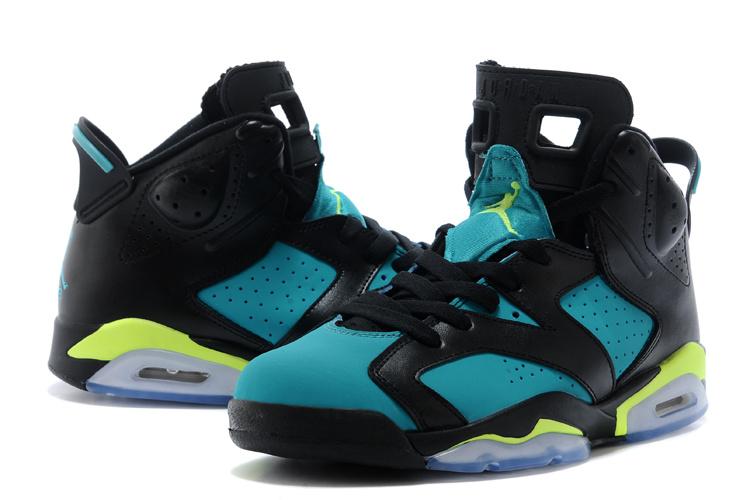 Latest Air Jordan 6 Retro Black Blue Fluorscent Shoes