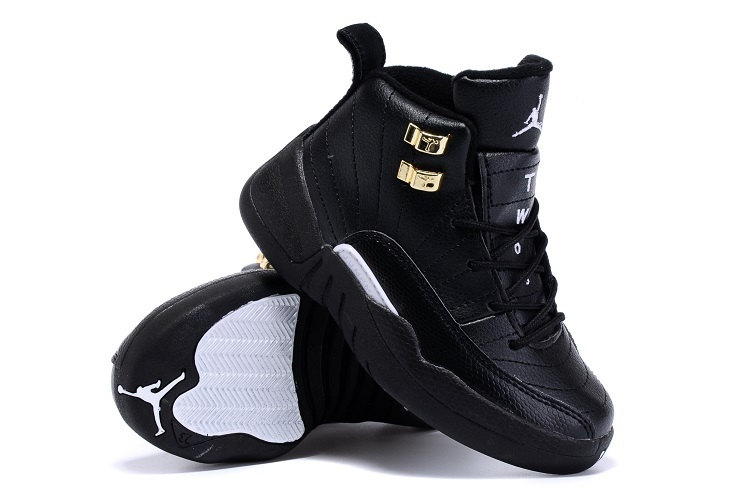 2015 Kids Air Jordan 12 Retro All Black Gold Shoes