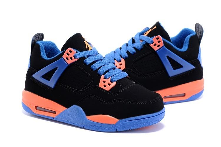 2015 Kids Air Jordan 4 Retro Black Blue Orange Shoes
