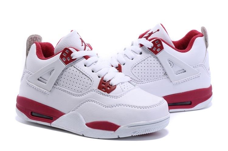 2015 Kids Air Jordan 4 Retro White Red Shoes