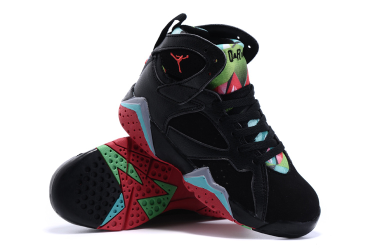 2015 Kids Air Jordan 7 Retro Black Green Red Shoes