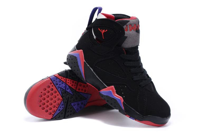 2015 Kids Air Jordan 7 Retro Black Purple Red Shoes