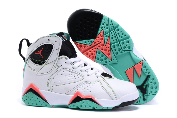 2015 Kids Air Jordan 7 Retro White Black Red Green Shoes