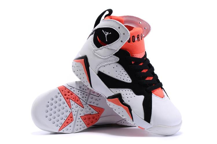 2015 Kids Air Jordan 7 Retro White Black Red Shoes