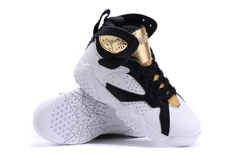 2015 Kids Air Jordan 7 Retro White Gold Shoes