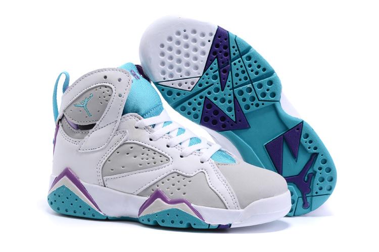 2015 Kids Air Jordan 7 Retro White Grey Baby Blue Shoes