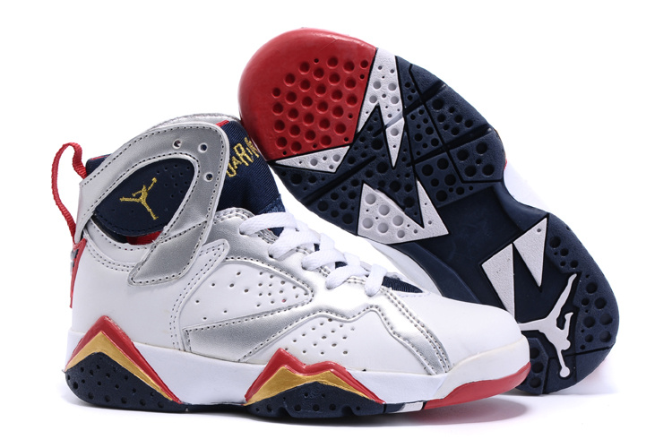 2015 Kids Air Jordan 7 Retro White Silver Red Black Shoes