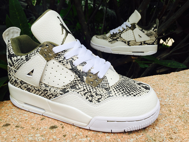 2015 Air Jordan 4 SnakeSkin White Army Green Shoes