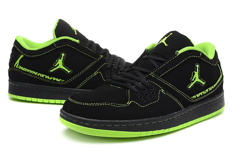 2015 New Air Jordan 1 Low Black Green Shoes