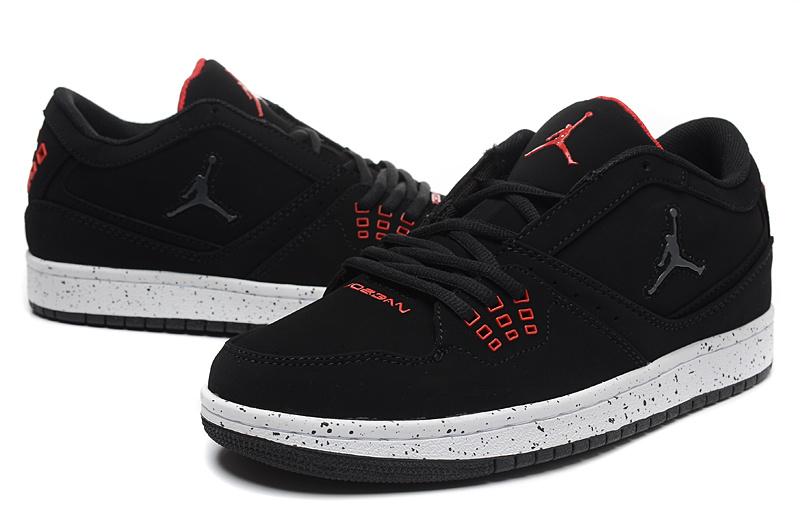 2015 New Air Jordan 1 Low Black Red Shoes