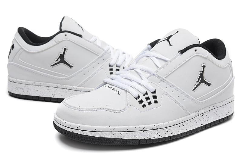 2015 New Air Jordan 1 Low White Black Jumpman Shoes