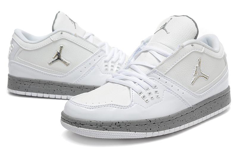 2015 New Air Jordan 1 Low White Grey Shoes