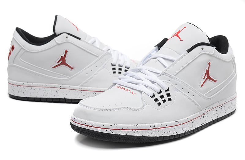 2015 New Air Jordan 1 Low White Red Jumpman Shoes
