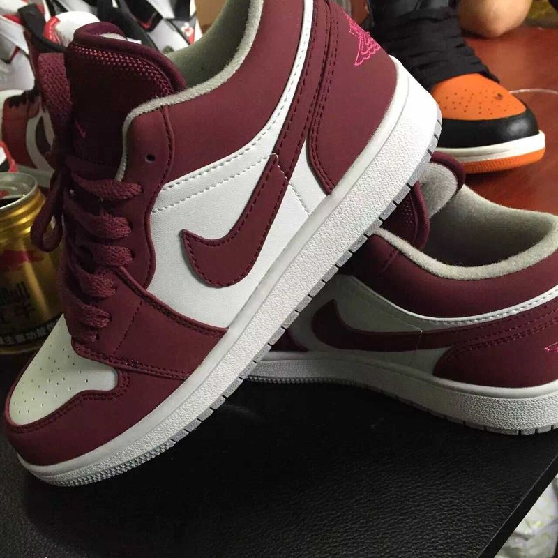 2015 New Air Jordan 1 Retro Low White Wine Red Shoes