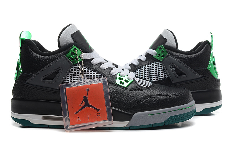 2015 New Air Jordan 4 Black Green Shoes