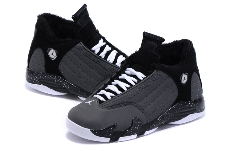 2015 New Lover Air Jordan 14 Retro Wool Black Grey Shoes