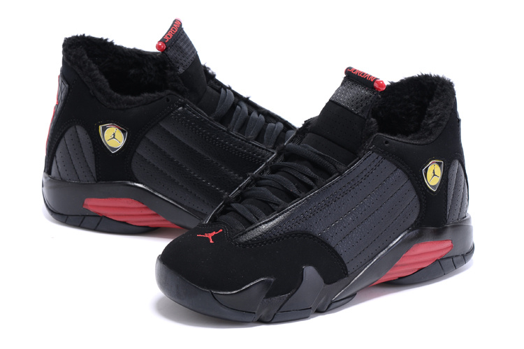 2015 New Lover Air Jordan 14 Retro Wool Black Red Shoes