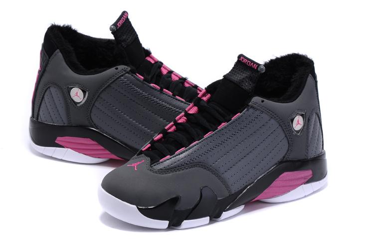 2015 New Women Air Jordan 14 Retro Wool Grey Black Pink Shoes