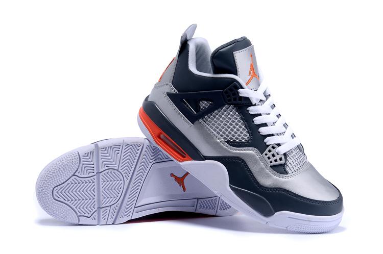 2015 Original Jordan 4 Silver Deep Blue Shoes