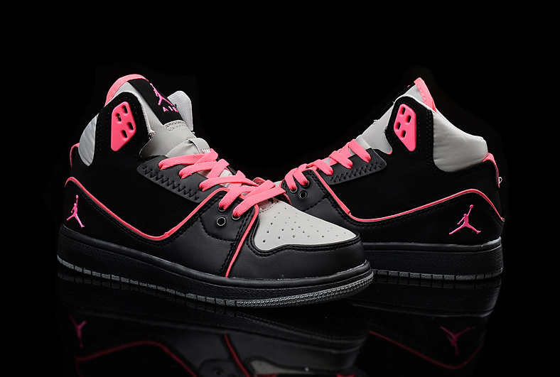 2015 Women Air Jordan 1 Flight 2 Black Grey Red Shoes