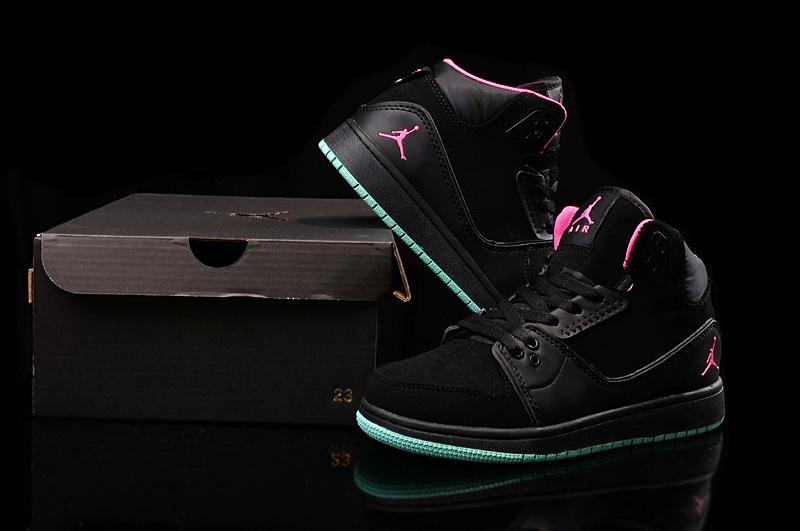 2015 Women Air Jordan 1 Flight 2 Black Pink Green Shoes