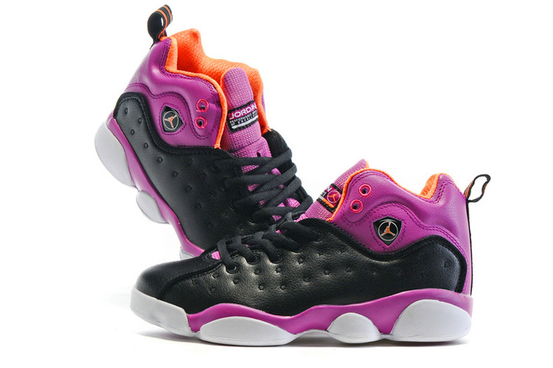 2016 Air Jordan Team 2 GS Black Purple Shoes