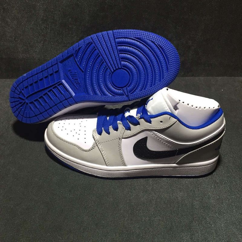 2016 Jordan 1 Low White Grey Royal Blue Black
