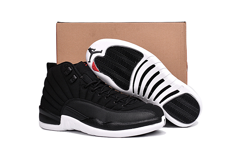 2016 Air Jordan 12 Black Nylon Black White Shoes