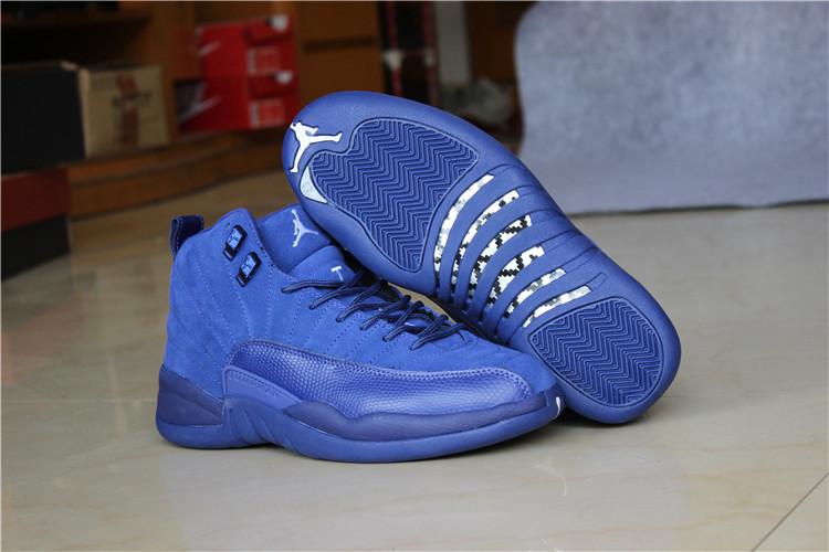 2016 Air Jordan 12 Blue Suede Shoes