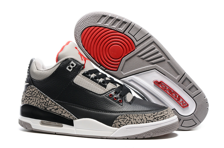 2016 Air Jordan 3 Black Cement Grey Red Shoes with Nike Air Logo